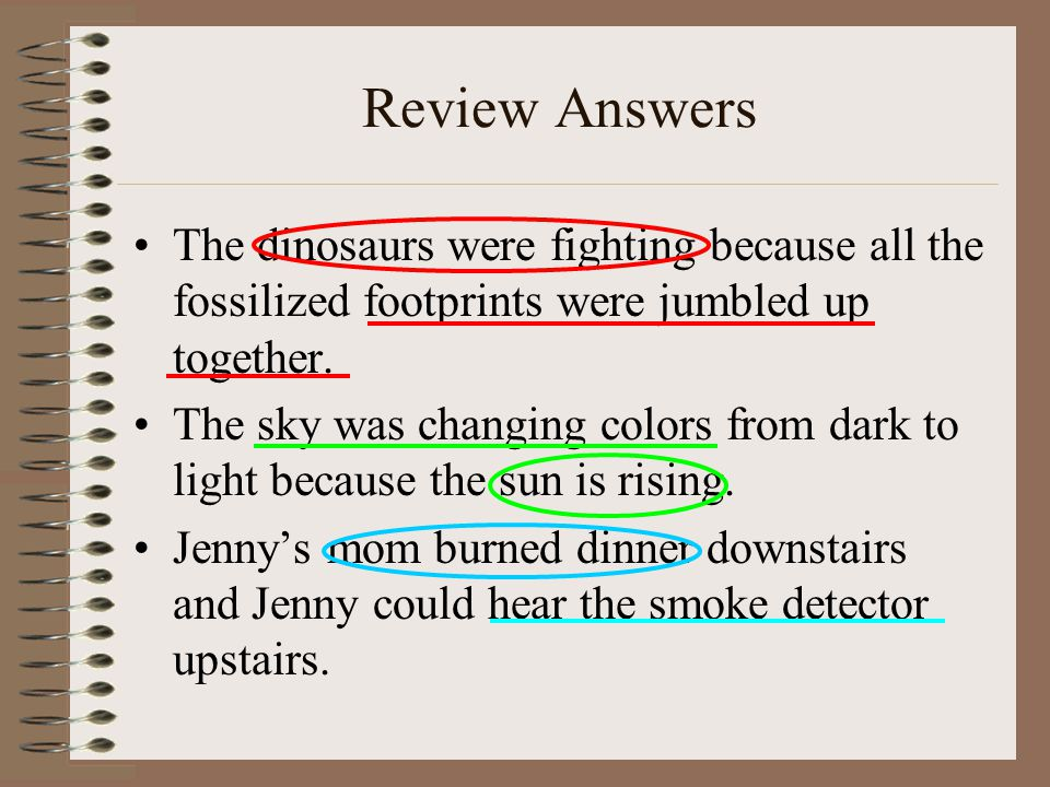 Review Answers The dinosaurs were fighting because all the fossilized footprints were jumbled up together.