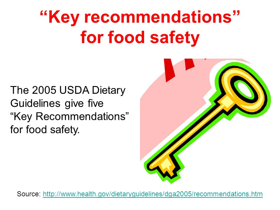 15 Key recommendations for food safety The 2005 USDA Dietary Guidelines give five Key Recommendations for food safety.
