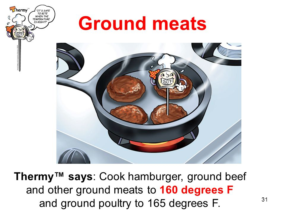 31 Ground meats Thermy™ says: Cook hamburger, ground beef and other ground meats to 160 degrees F and ground poultry to 165 degrees F.