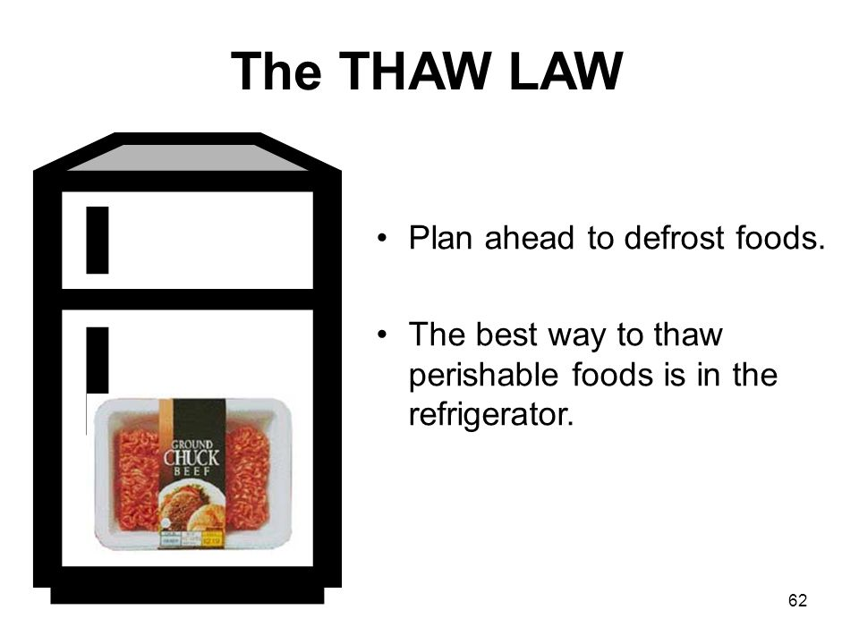 62 The THAW LAW Plan ahead to defrost foods.