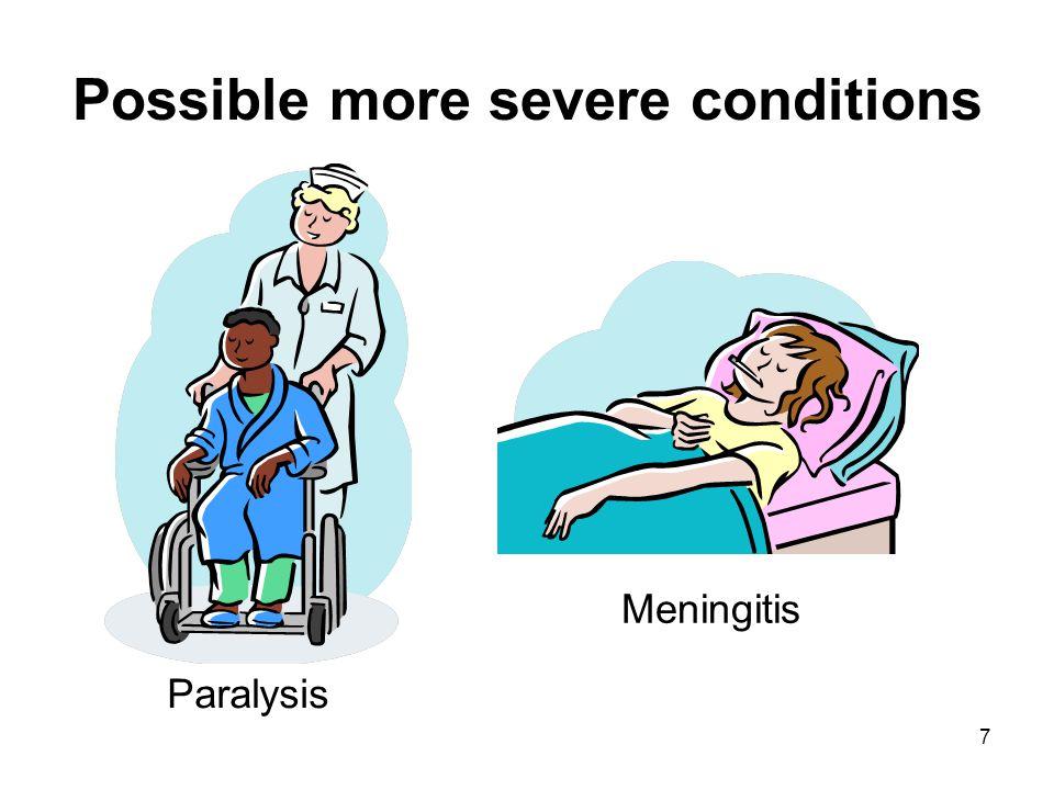 7 Possible more severe conditions Paralysis Meningitis