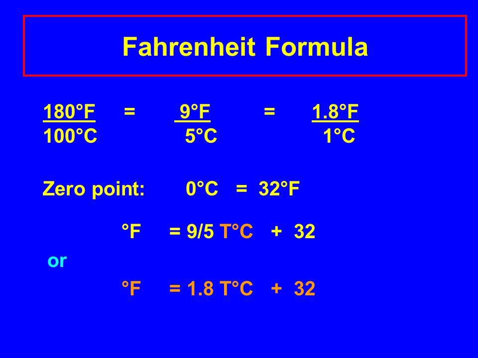 Fahrenheit Formula 180°F = 9°F =1.8°F 100°C 5°C 1°C Zero point: 0°C = 32°F °F = 9/5 T°C + 32 or °F = 1.8 T°C + 32
