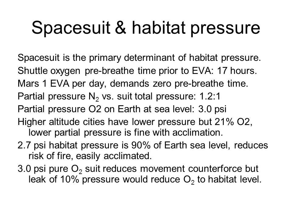 Spacesuit & habitat pressure Spacesuit is the primary determinant of habitat pressure.