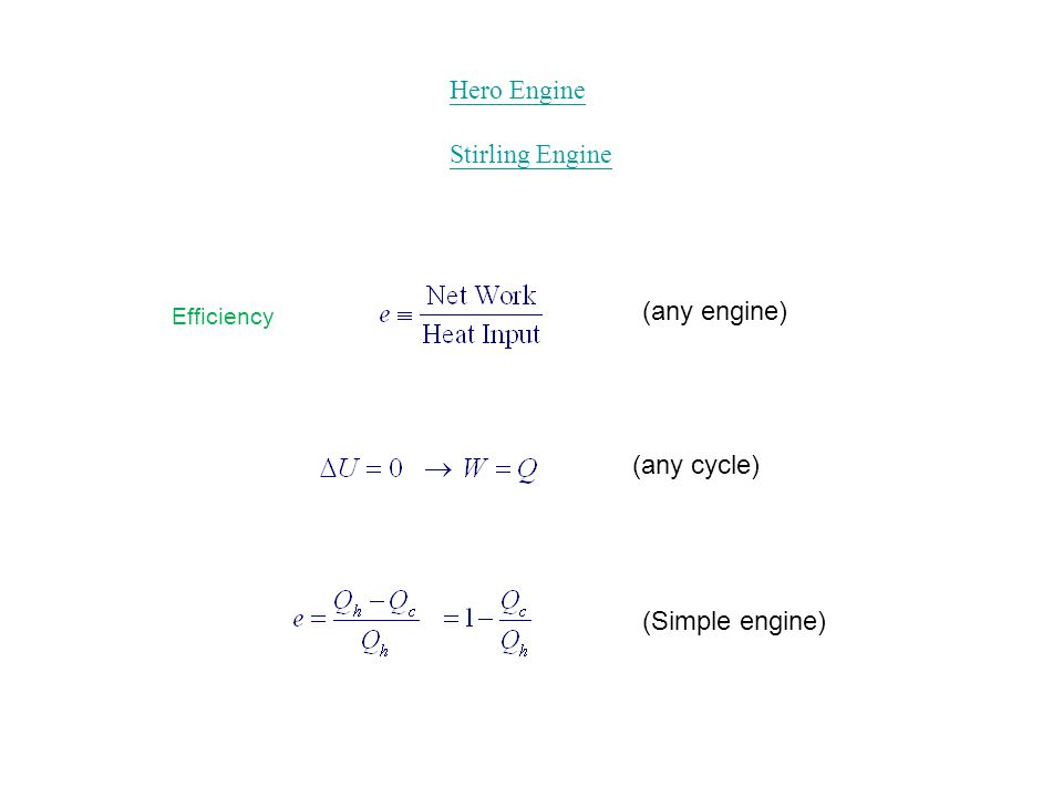 Efficiency (any engine) (Simple engine) (any cycle) Hero Engine Stirling Engine