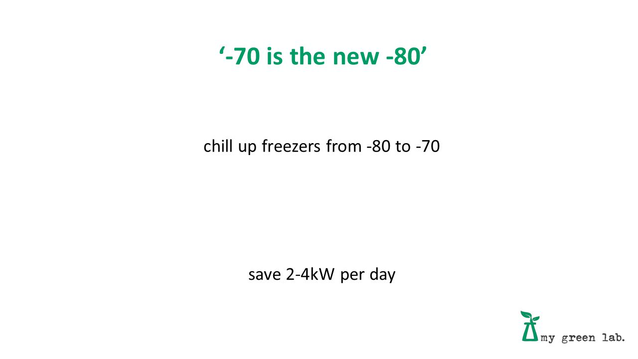 '-70 is the new -80' chill up freezers from -80 to -70 save 2-4kW per day