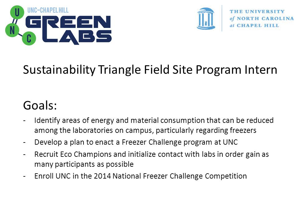 Sustainability Triangle Field Site Program Intern Goals: -Identify areas of energy and material consumption that can be reduced among the laboratories