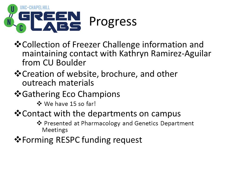Progress  Collection of Freezer Challenge information and maintaining contact with Kathryn Ramirez-Aguilar from CU Boulder  Creation of website, bro