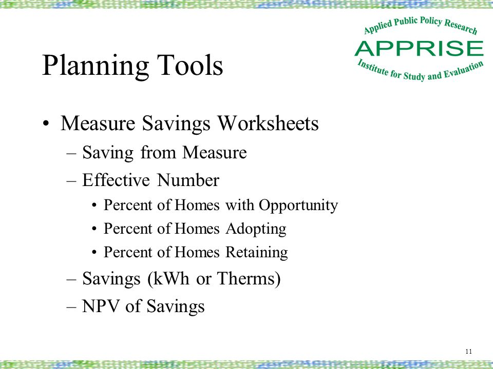 Planning Tools Measure Savings Worksheets –Saving from Measure –Effective Number Percent of Homes with Opportunity Percent of Homes Adopting Percent o