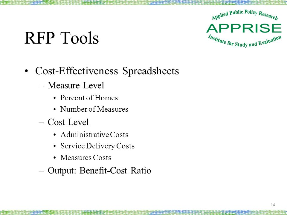 RFP Tools Cost-Effectiveness Spreadsheets –Measure Level Percent of Homes Number of Measures –Cost Level Administrative Costs Service Delivery Costs Measures Costs –Output: Benefit-Cost Ratio 14