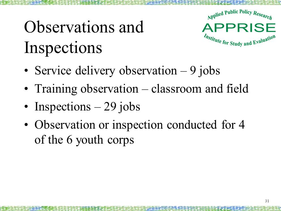 Observations and Inspections Service delivery observation – 9 jobs Training observation – classroom and field Inspections – 29 jobs Observation or inspection conducted for 4 of the 6 youth corps 31