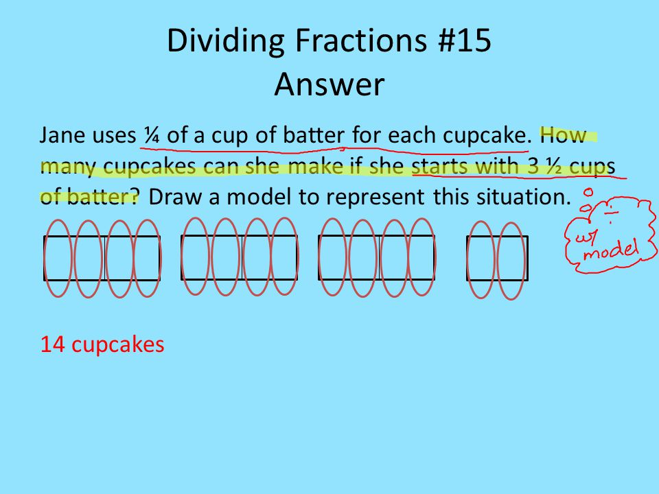 Dividing Fractions #15 Answer Jane uses ¼ of a cup of batter for each cupcake.
