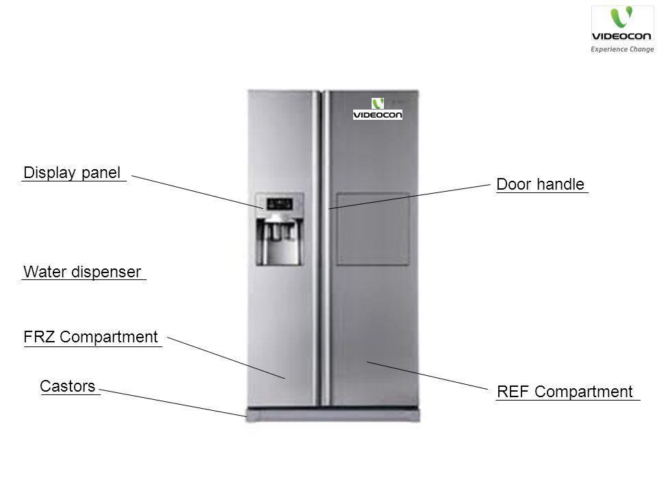 Display panel Water dispenser Castors REF Compartment Door handle FRZ Compartment