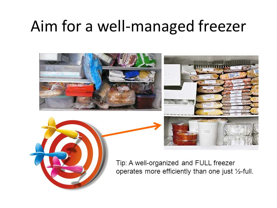 Aim for a well-managed freezer Tip: A well-organized and FULL freezer operates more efficiently than one just ½-full.