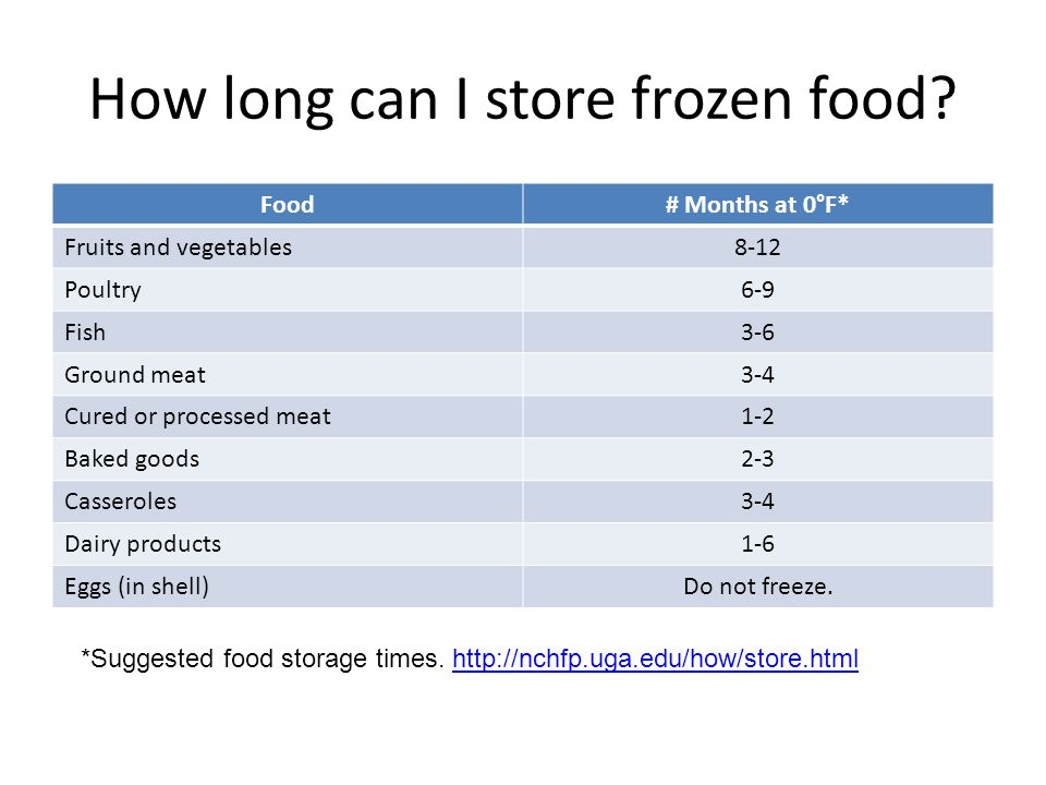 How long can I store frozen food.