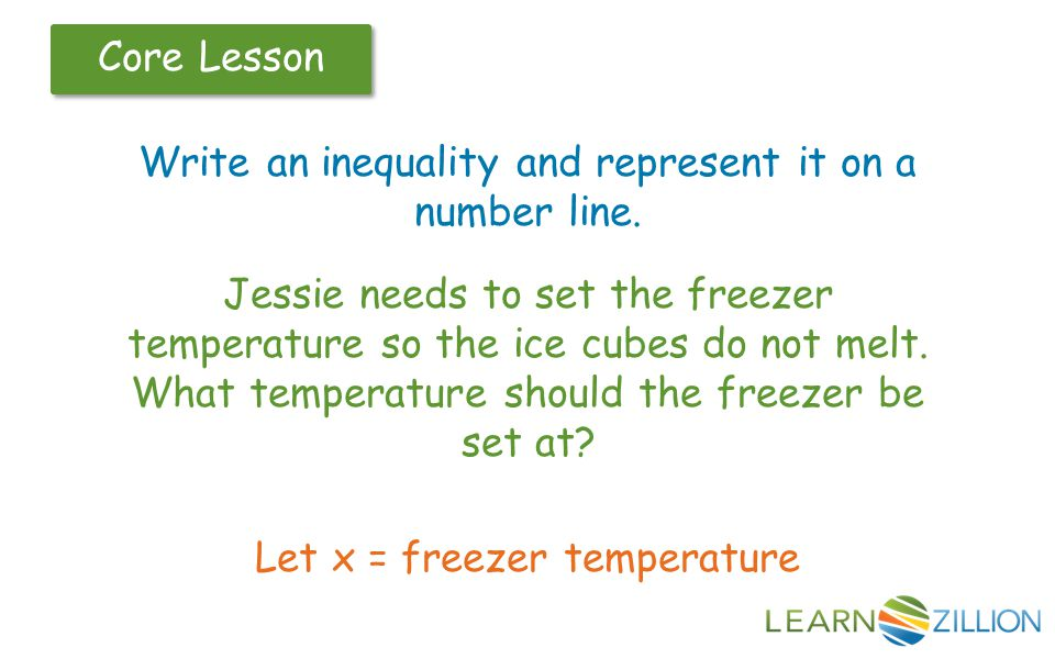 Core Lesson Write an inequality and represent it on a number line. Jessie needs to set the freezer temperature so the ice cubes do not melt. What temp