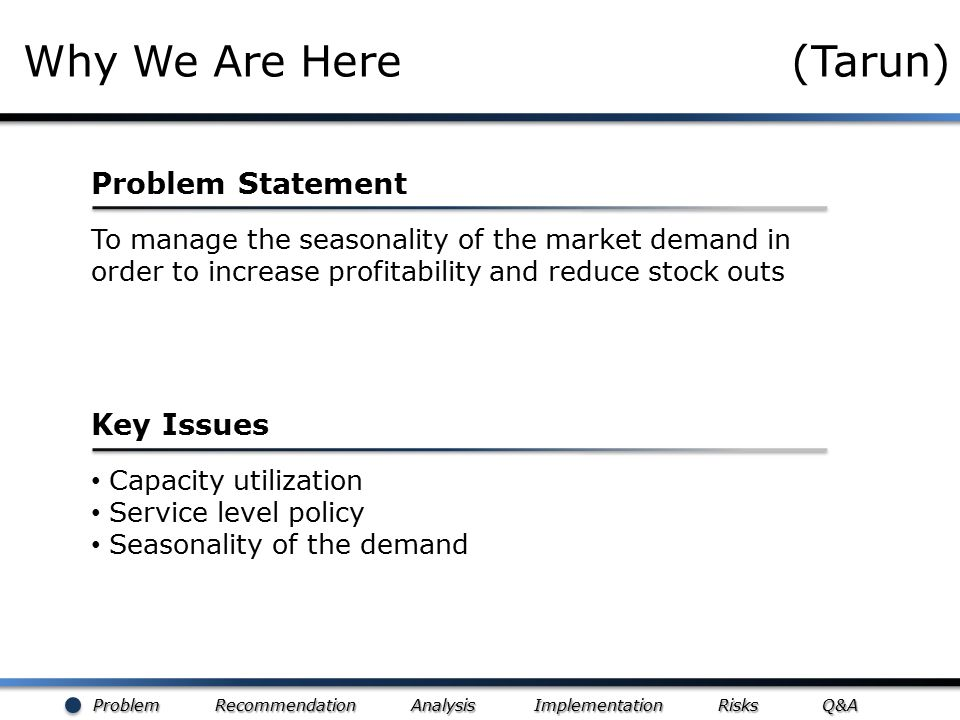 Problem Recommendation Analysis Implementation Risks Q&A Why We Are Here (Tarun) To manage the seasonality of the market demand in order to increase p