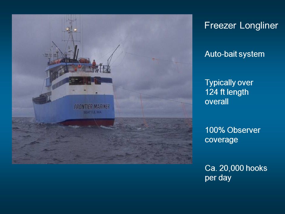 Freezer Longliner Auto-bait system Typically over 124 ft length overall 100% Observer coverage Ca. 20,000 hooks per day