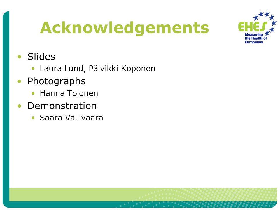 Acknowledgements Slides Laura Lund, Päivikki Koponen Photographs Hanna Tolonen Demonstration Saara Vallivaara