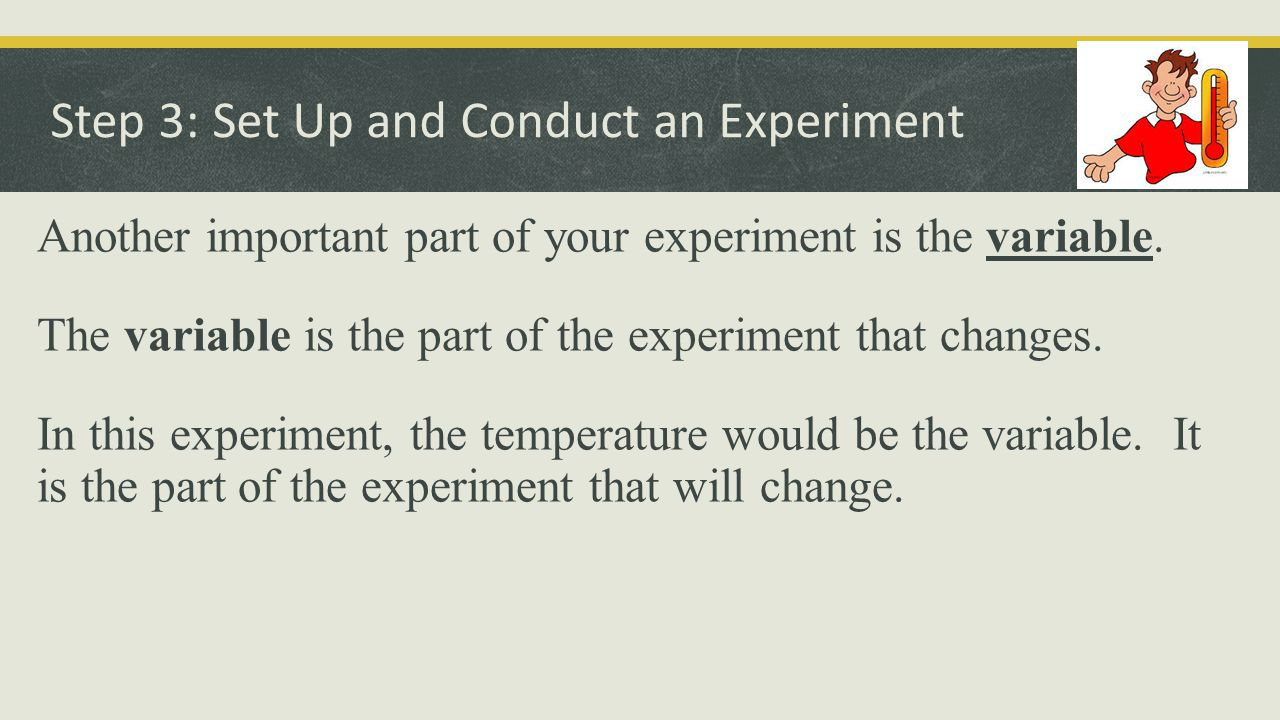 Step 3: Set Up and Conduct an Experiment One of your most important parts of your experiment is the control.