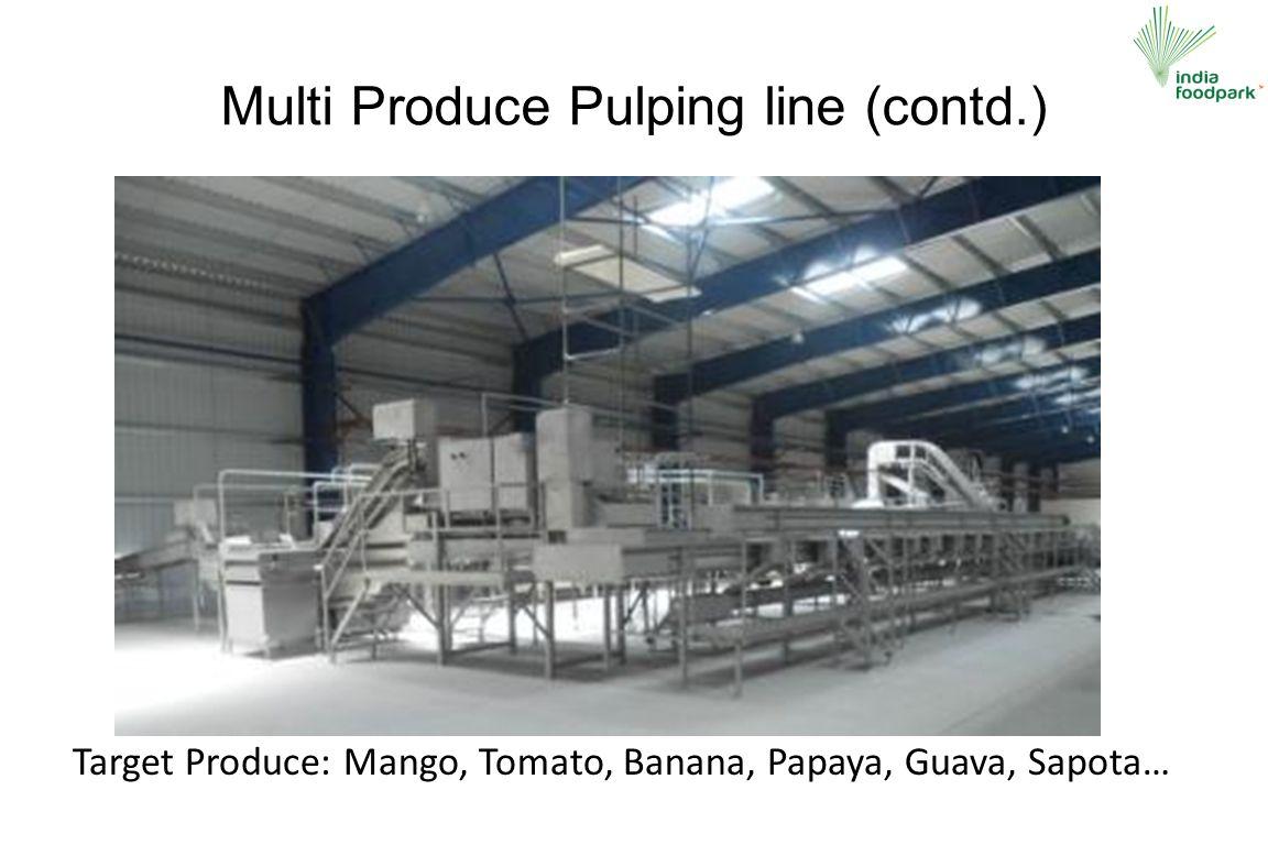 Multi Produce Pulping line (contd.) Target Produce: Mango, Tomato, Banana, Papaya, Guava, Sapota…