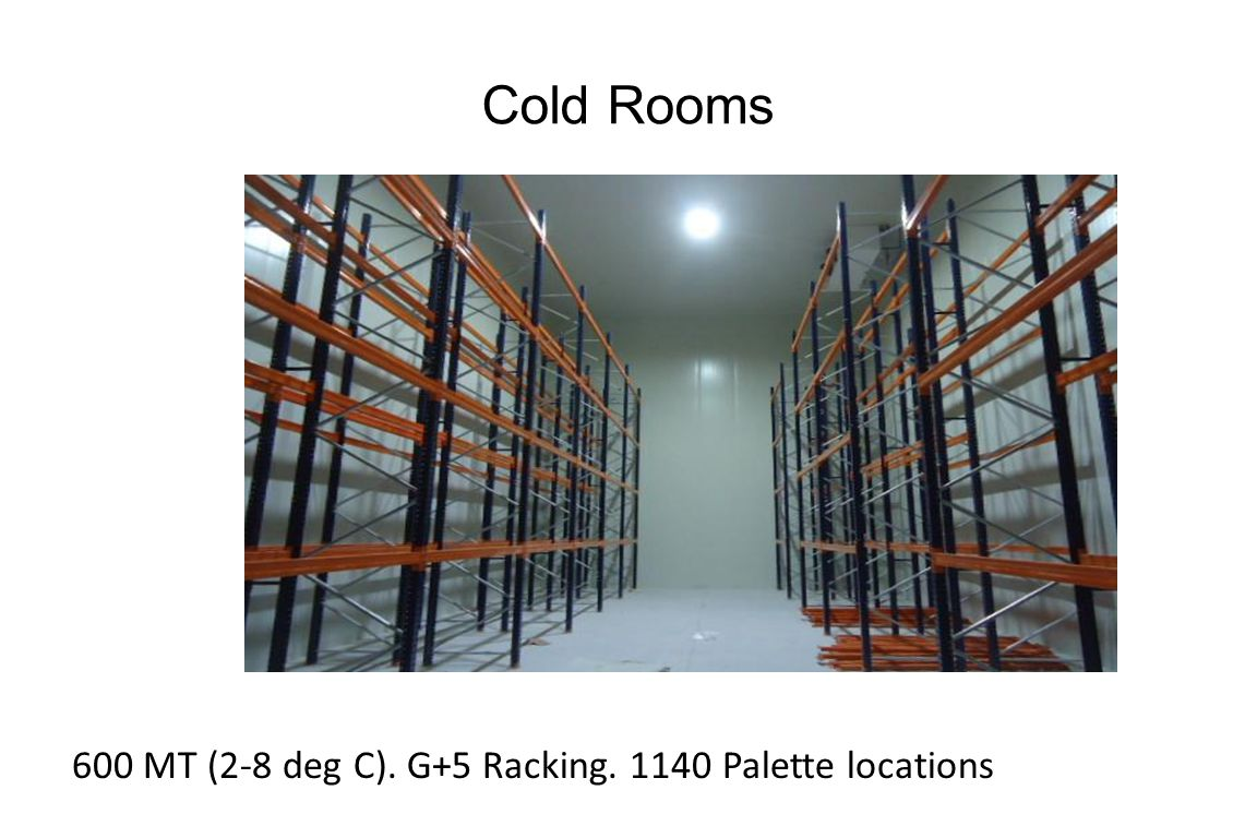 Cold Rooms 600 MT (2-8 deg C). G+5 Racking. 1140 Palette locations