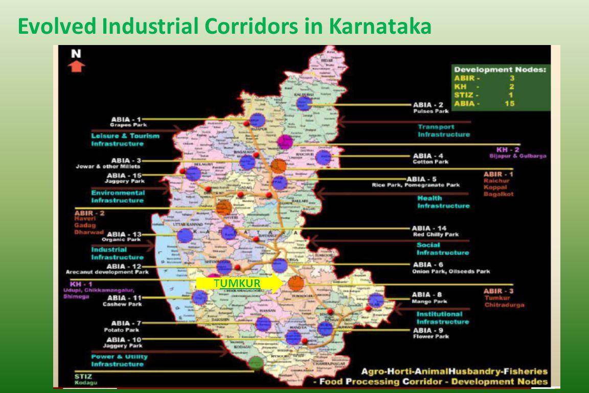 India Food Park Location Vasanthanarsapura Industrial Area Located in KIADB Industrial Area – 12000 acre NIMZ PROJECT 100 Kms from Bangalore 1 Km from NH4 22 Kms from nearest Railway Station 100 kms from nearest airport TumkurKarnataka 300 kms from nearest port