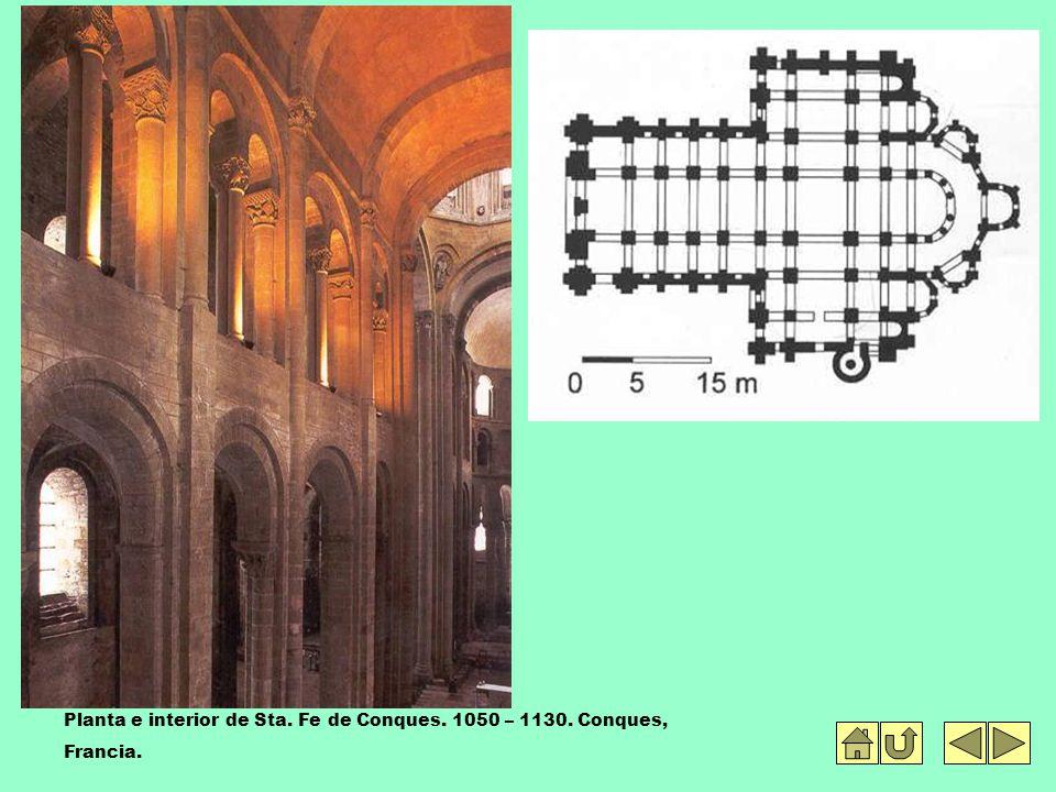 Planta e interior de Sta. Fe de Conques. 1050 – 1130. Conques, Francia.