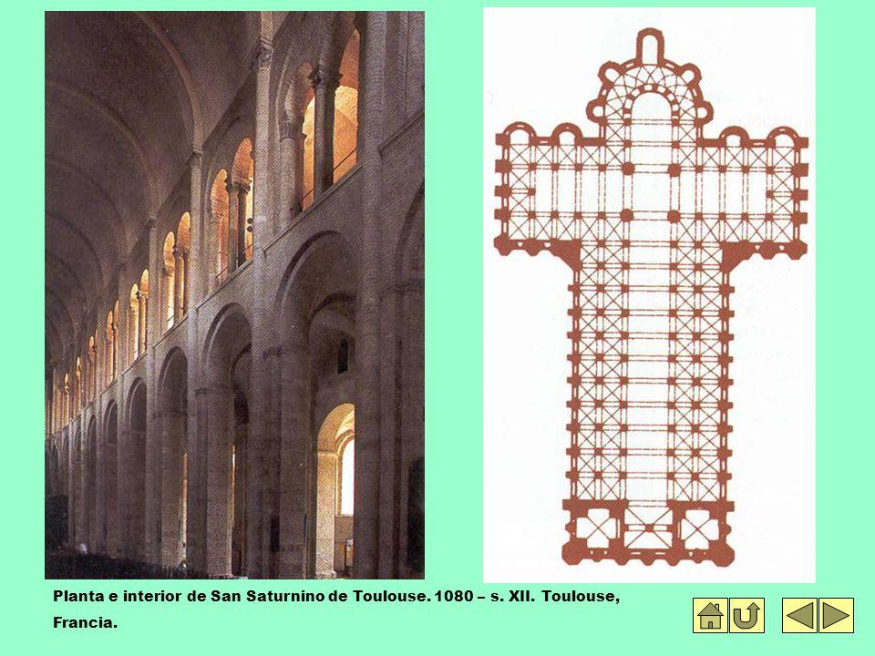 Planta e interior de San Saturnino de Toulouse. 1080 – s. XII. Toulouse, Francia.