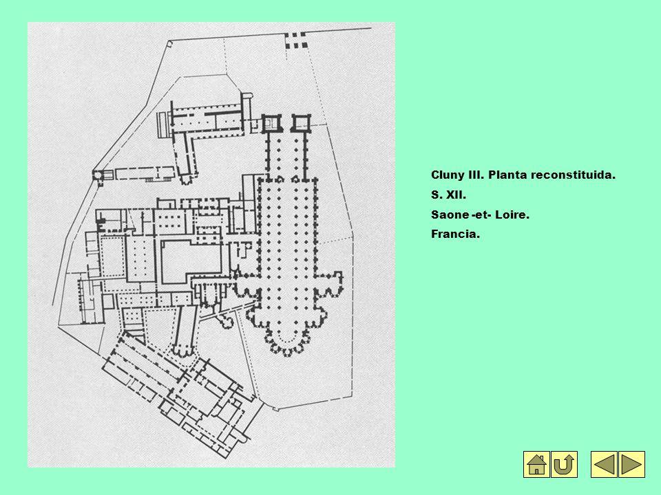 Cluny III. Planta reconstituida. S. XII. Saone -et- Loire. Francia.