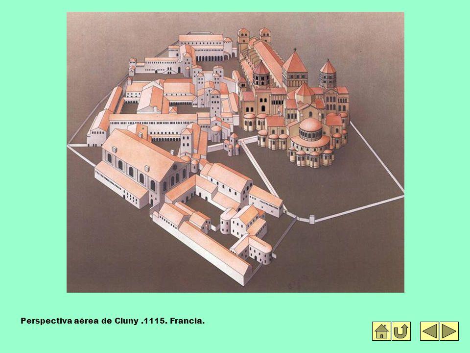 Perspectiva aérea de Cluny.1115. Francia.