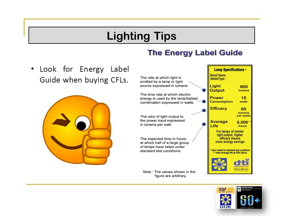 Lighting Tips Look for Energy Label Guide when buying CFLs.
