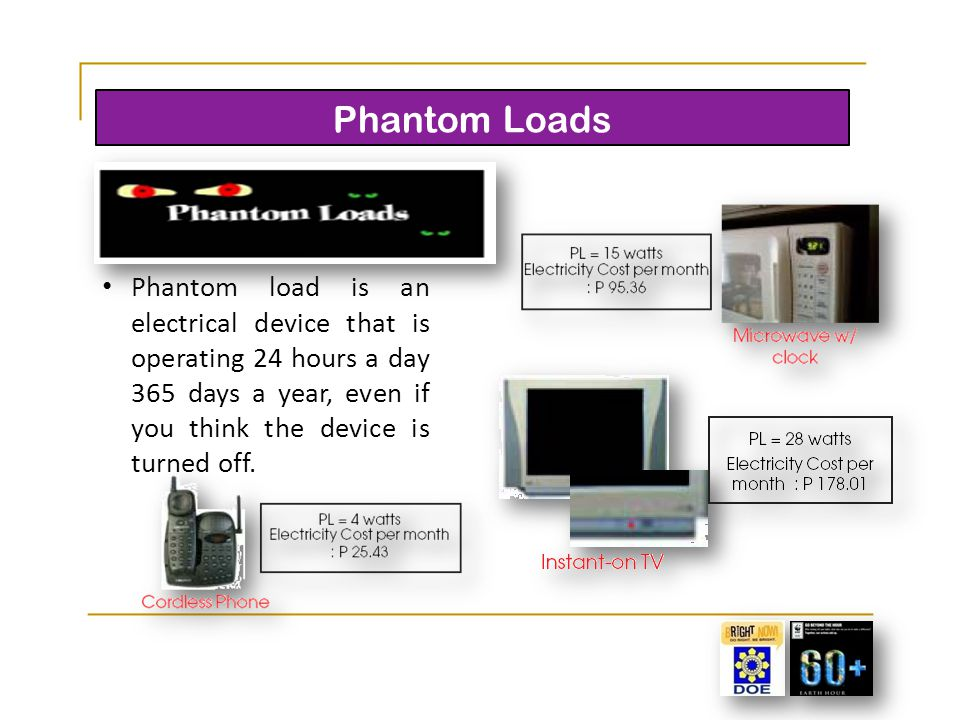 Phantom Loads Phantom load is an electrical device that is operating 24 hours a day 365 days a year, even if you think the device is turned off.