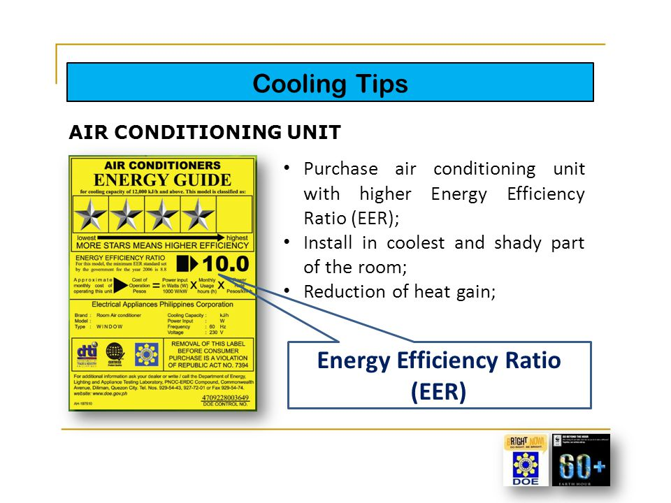 Cooling Tips Purchase air conditioning unit with higher Energy Efficiency Ratio (EER); Install in coolest and shady part of the room; Reduction of hea