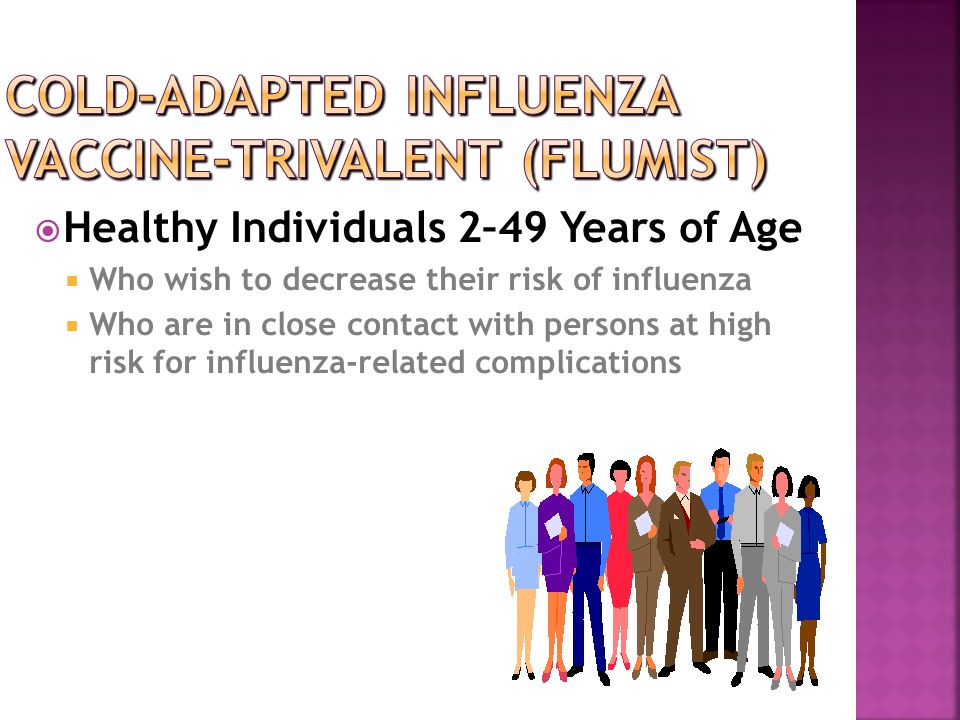  Healthy Individuals 2–49 Years of Age  Who wish to decrease their risk of influenza  Who are in close contact with persons at high risk for influe