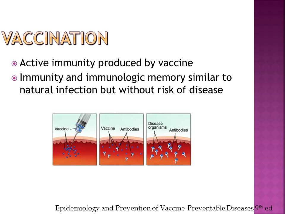  Active immunity produced by vaccine  Immunity and immunologic memory similar to natural infection but without risk of disease Epidemiology and Prev