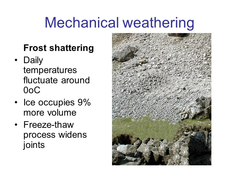 What are the different types of weathering?