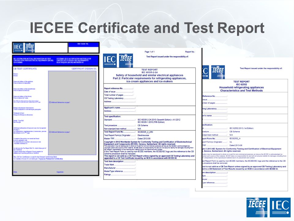 IECEE Certificate and Test Report