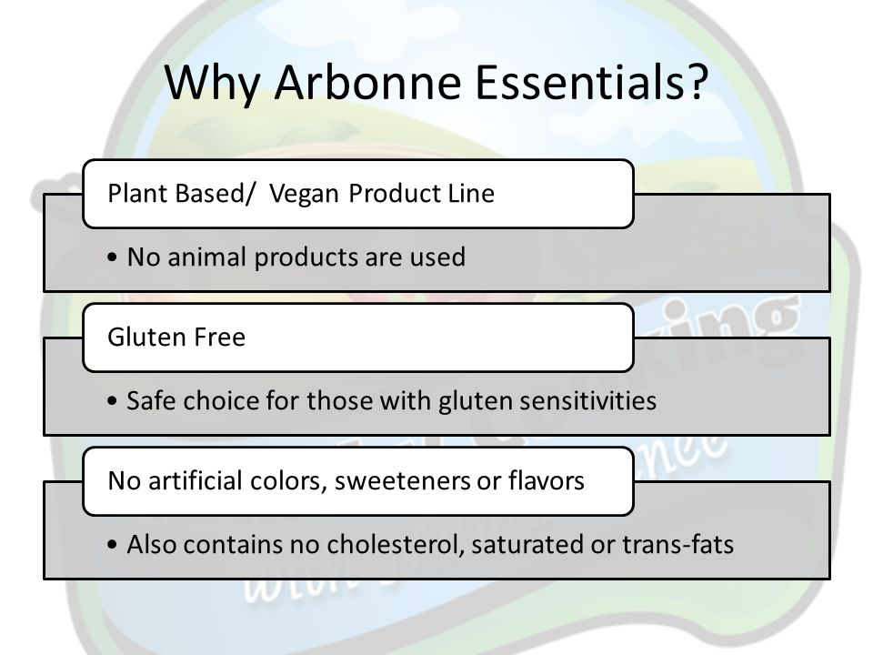 Why Arbonne Essentials? No animal products are used Plant Based/ Vegan Product Line Safe choice for those with gluten sensitivities Gluten Free Also c
