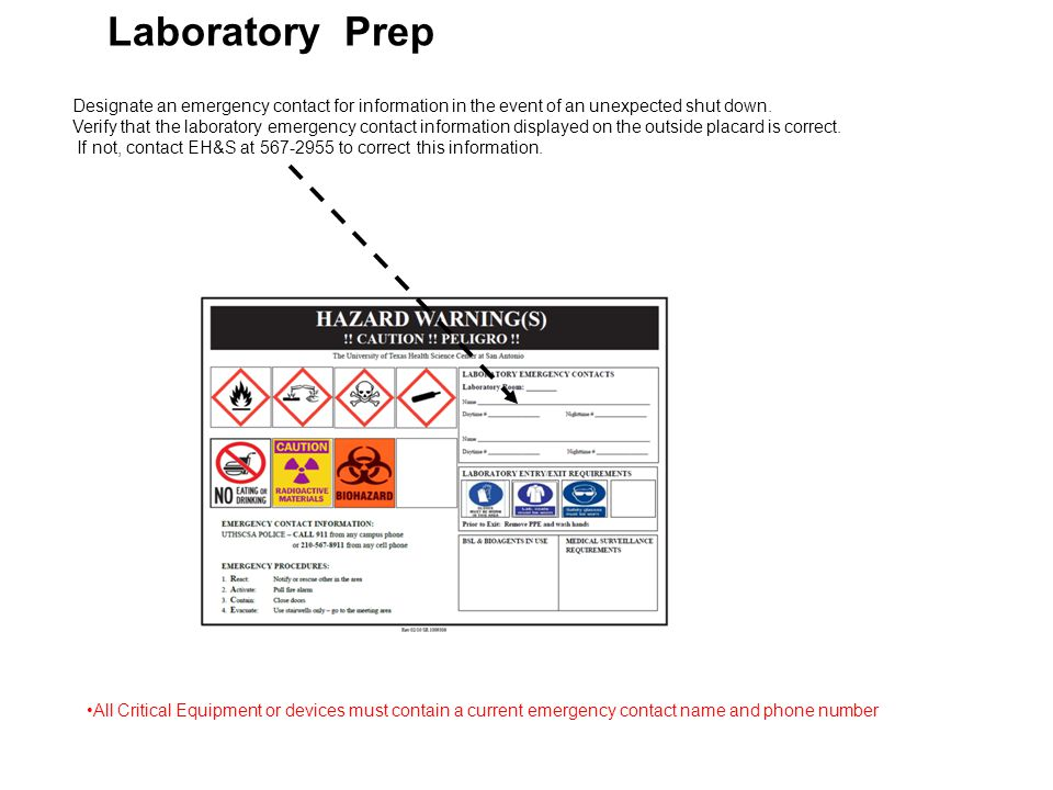 Laboratory Prep Designate an emergency contact for information in the event of an unexpected shut down.