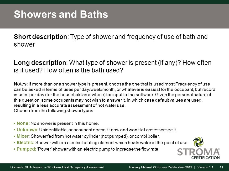 Domestic GDA Training – 12. Green Deal Occupancy Assessment11Training Material © Stroma Certification 2013 | Version 1.1 Showers and Baths Short descr
