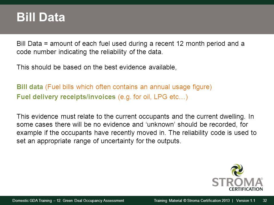Domestic GDA Training – 12. Green Deal Occupancy Assessment32Training Material © Stroma Certification 2013 | Version 1.1 Bill Data Bill Data = amount