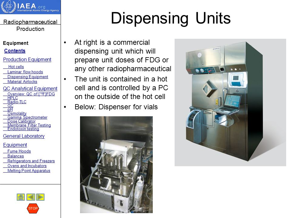 Radiopharmaceutical Production Equipment Contents Production Equipment Hot cells Laminar flow hoods Dispensing Equipment Material Airlocks QC Analytic