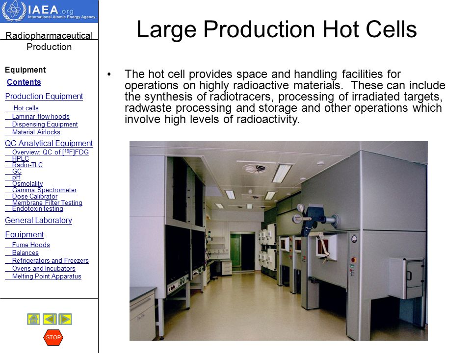 Radiopharmaceutical Production Equipment Contents Production Equipment Hot cells Laminar flow hoods Dispensing Equipment Material Airlocks QC Analytical Equipment Overview: QC of [ 18 F]FDG HPLC Radio-TLC GC pH Osmolality Gamma Spectrometer Dose Calibrator Membrane Filter Testing Endotoxin testing General Laboratory Equipment Fume Hoods Balances Refrigerators and Freezers Ovens and Incubators Melting Point Apparatus STOP Large Production Hot Cells Manipulators can be used for manual synthesis when an automated synthesis unit is not available.
