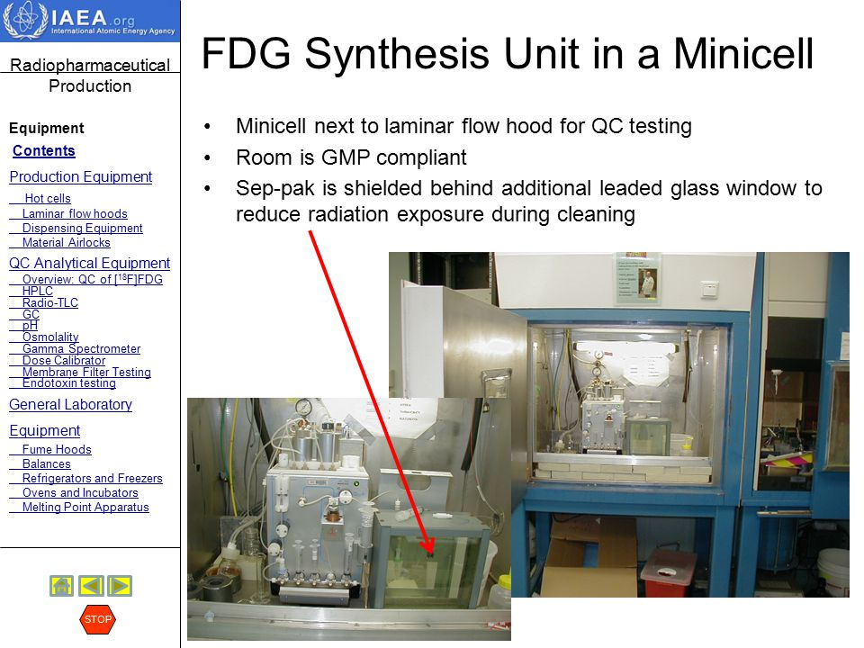 Radiopharmaceutical Production Equipment Contents Production Equipment Hot cells Laminar flow hoods Dispensing Equipment Material Airlocks QC Analytical Equipment Overview: QC of [ 18 F]FDG HPLC Radio-TLC GC pH Osmolality Gamma Spectrometer Dose Calibrator Membrane Filter Testing Endotoxin testing General Laboratory Equipment Fume Hoods Balances Refrigerators and Freezers Ovens and Incubators Melting Point Apparatus STOP Dual Mini-cells Here are mini-cells with a shielded laminar flow ot cell next to it to handle the quality control testing.