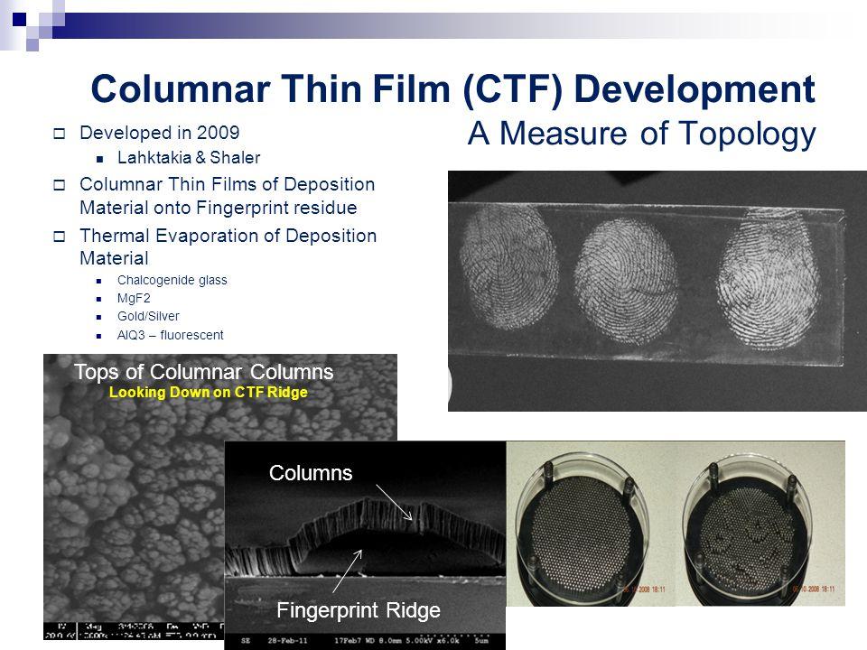 Columnar Thin Film (CTF) Development A Measure of Topology  Developed in 2009 Lahktakia & Shaler  Columnar Thin Films of Deposition Material onto Fi
