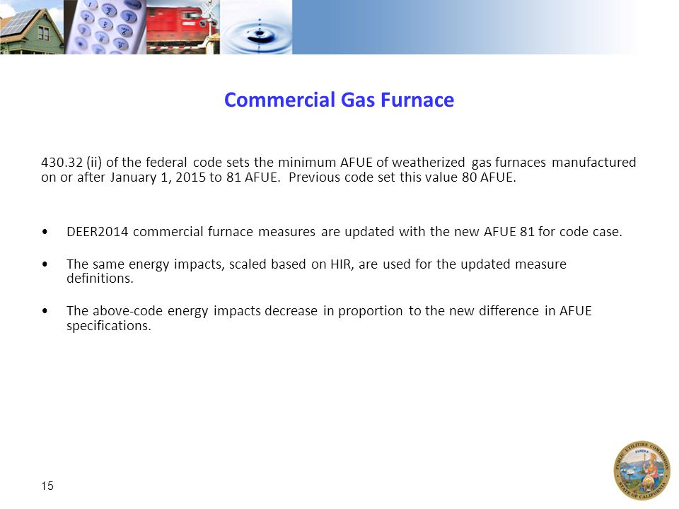 Commercial Gas Furnace 430.32 (ii) of the federal code sets the minimum AFUE of weatherized gas furnaces manufactured on or after January 1, 2015 to 81 AFUE.