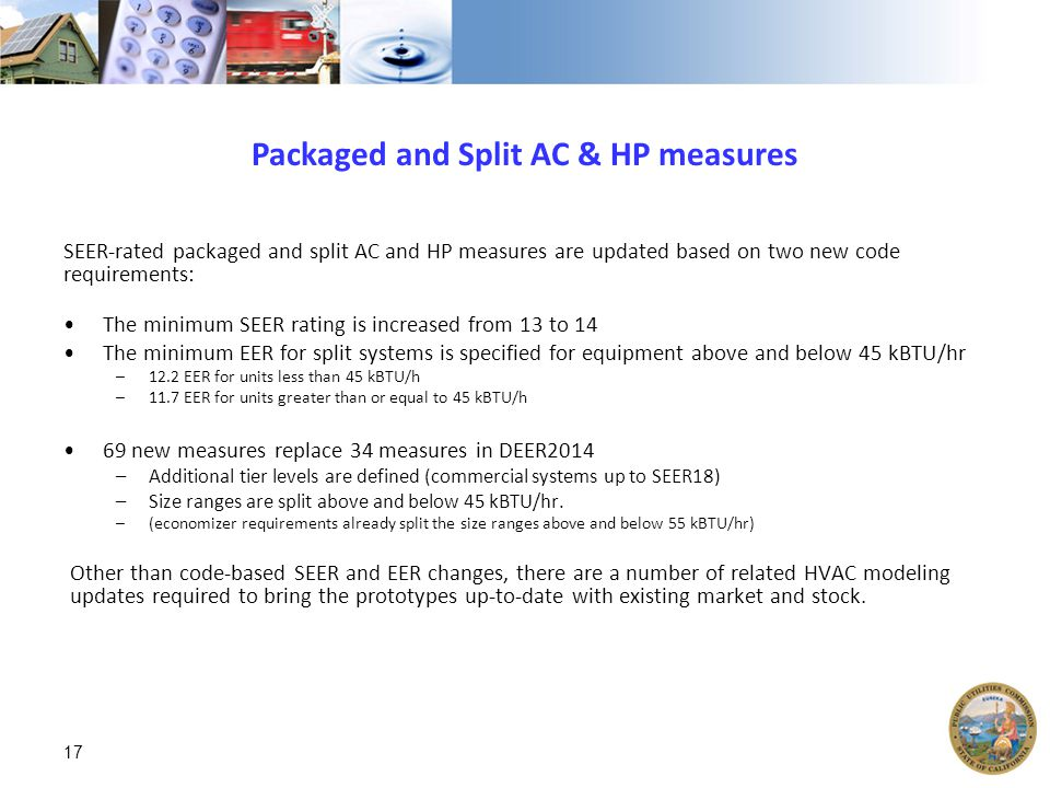 Packaged and Split AC & HP measures SEER-rated packaged and split AC and HP measures are updated based on two new code requirements: The minimum SEER rating is increased from 13 to 14 The minimum EER for split systems is specified for equipment above and below 45 kBTU/hr –12.2 EER for units less than 45 kBTU/h –11.7 EER for units greater than or equal to 45 kBTU/h 69 new measures replace 34 measures in DEER2014 –Additional tier levels are defined (commercial systems up to SEER18) –Size ranges are split above and below 45 kBTU/hr.