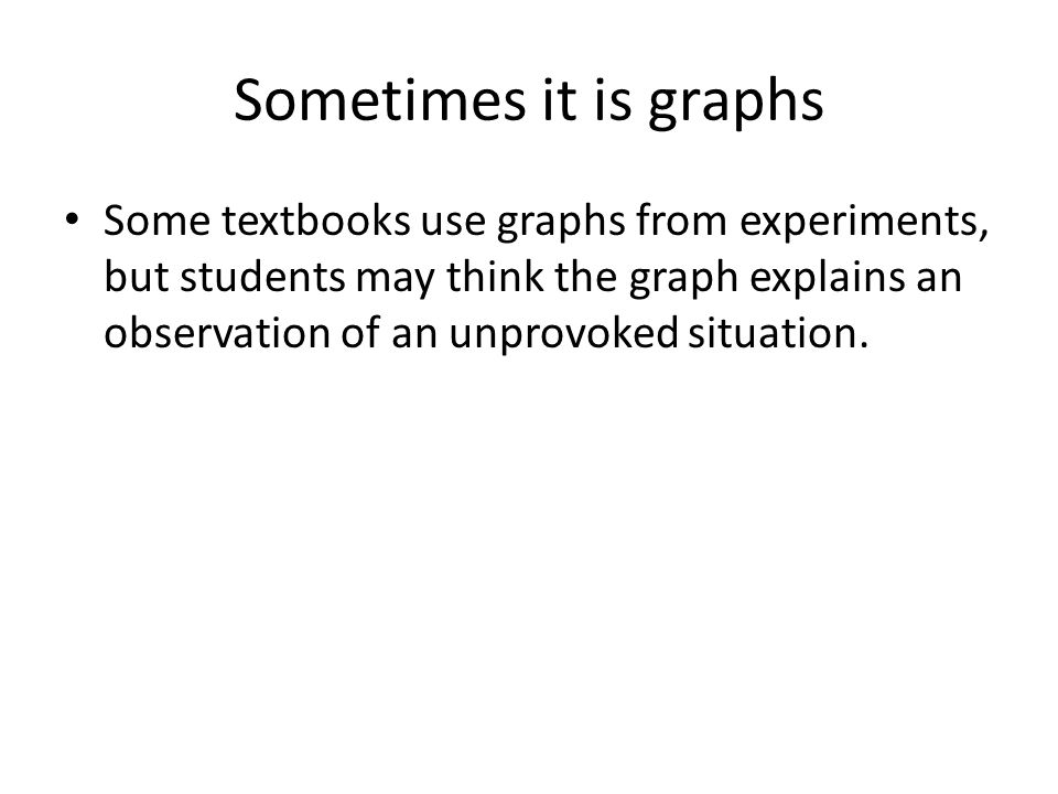 Sometimes it is graphs Some textbooks use graphs from experiments, but students may think the graph explains an observation of an unprovoked situation.
