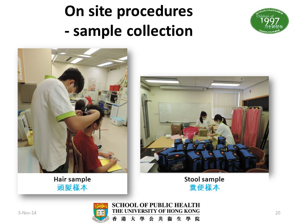 3-Nov-1420 On site procedures - sample collection Hair sample 頭髮樣本 Stool sample 糞便樣本