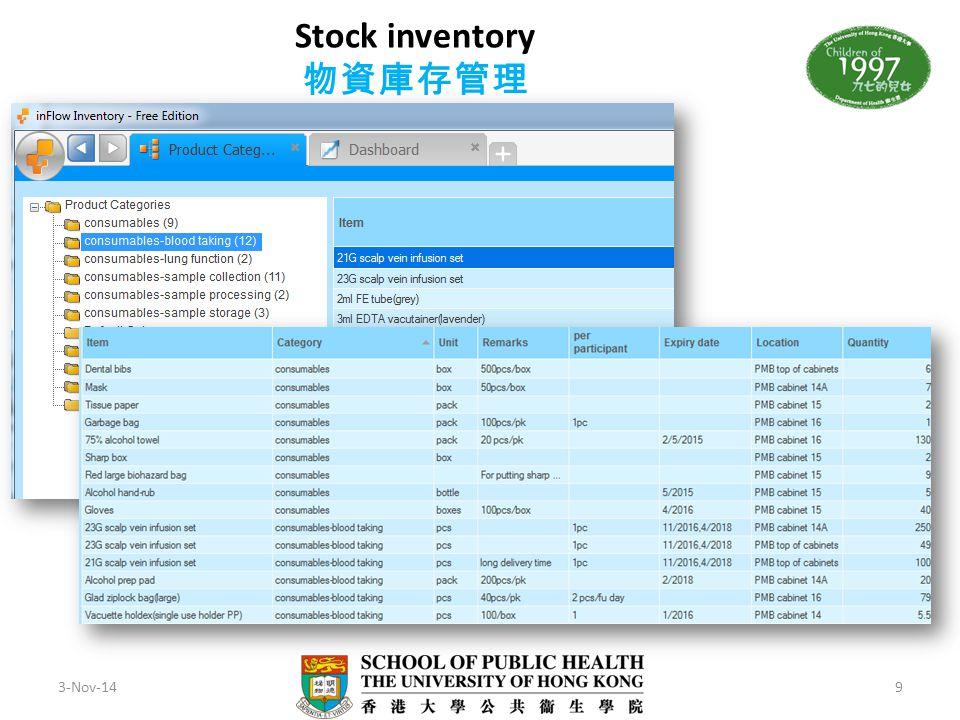 Stock inventory 物資庫存管理 3-Nov-149